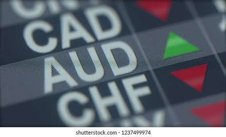 Increasing Australian dollar exchange rate indicator on computer screen. AUD forex ticker. 3D rendering