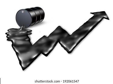 Increasing price of oil concept as an gasoline drum spilling petroleum with the black liquid shaped as an upward stock market graph arrow as a metaphor for rising costs of fuel on a white background.