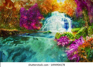 The incredible view of beautiful waterfall and colorful forest in fantasy picture for room decoration and relaxation. Abstract digital oil painting.
