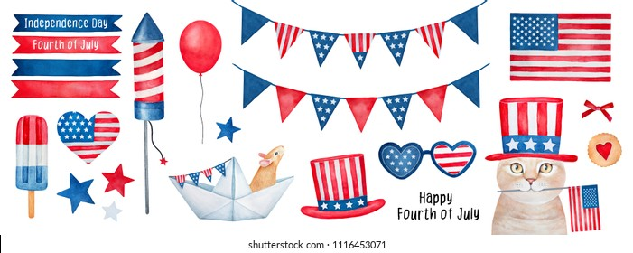 Independence Day (4 th of July) Collection. Hand drawn watercolour graphic paint on white background, isolated clip art elements for holiday decoration and celebration design. Red, blue, white color.
