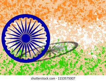 Independence day of India. Republic day of India. Beautiful design of Indian flag with tri-color background of Indian flag and Ashok chakra with shadow and grunge effect