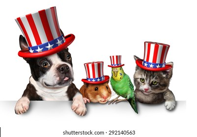Independence Day pets celebrating the United States fourth of july holiday with a dog cat bird and hamster wearing hats with the american stars and stripes.