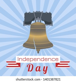 Independence Day of the USA. 4th of July. Concept of holiday. Liberty Bell. Tape, event name, rays from the center