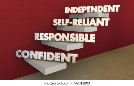 Independent Self-Reliant Confident Responsible Steps 3d Illustration