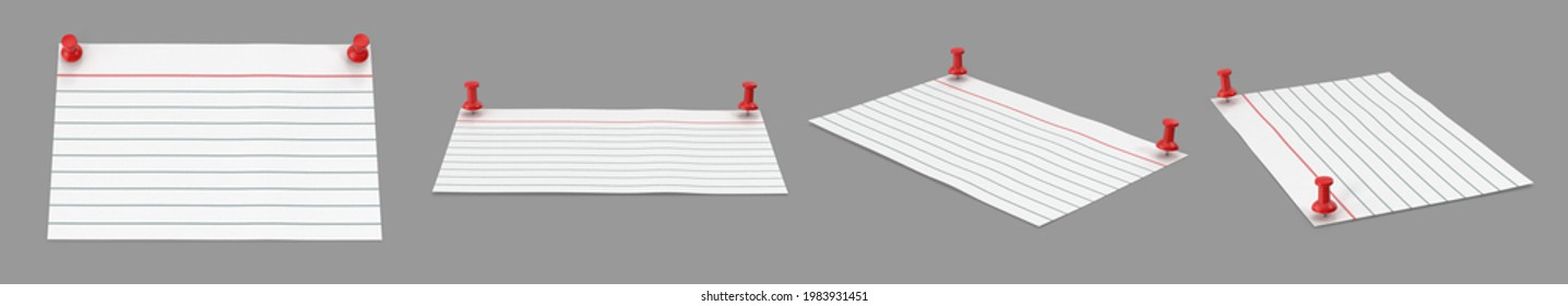 Index card is white notecard being predominant color pinned two red push pins. Isolated grey background 3d illustration different angle view realistic set