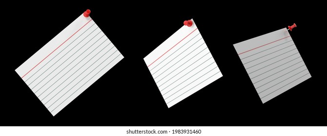 Index card is white notecard being predominant color pinned with one red push pin. Isolated black background 3d illustration different angle view realistic set