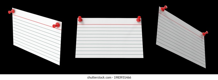 Index card is white notecard being predominant color pinned two red push pins. Isolated black background 3d illustration different angle view realistic set