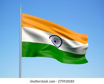India 3d flag floating in the wind. 3d illustration.