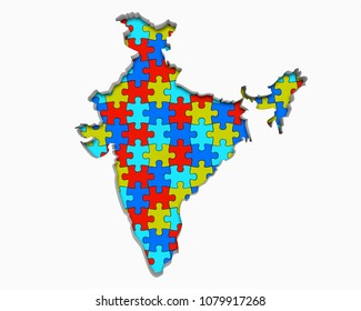 India Asia Indian Puzzle Pieces Map Working Together 3d Illustration
