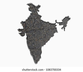 India Asia Indian Road Map Pavement Construction Infrastructure 3d Illustration