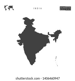 India Blank Map Isolated on White Background. High-Detailed Black Silhouette Map of Republic of India.
