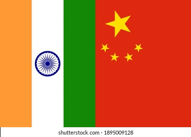 India and China vertical national flags icon isolated together background, abstract creative international political relationship partnership friendship concept texture pattern