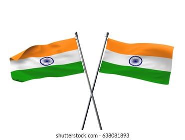 India crossed flags. 3D Rendering