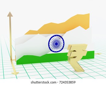 India economy growth bar graph with flag and currency symbol.