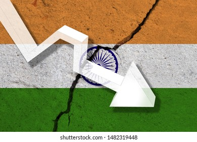 India Flag on the cracked wall with arrow falling down. Concept of decrease in the country.