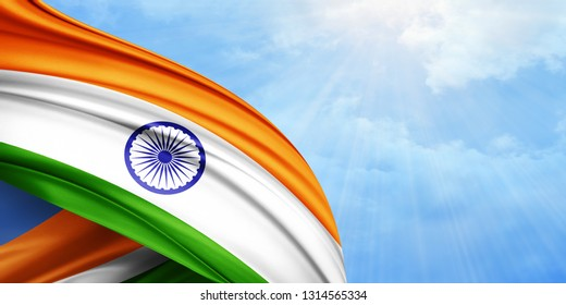 India flag of silk with copyspace for your text or images and sky background-3D illustration