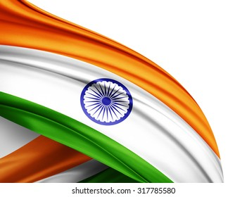 India  flag of silk with copyspace for your text or images and white background
