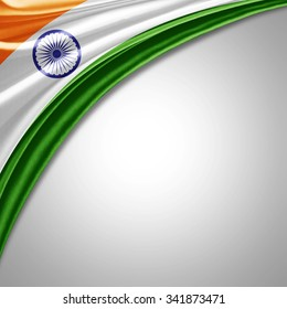 India flag  of  silk with copyspace for your text or images