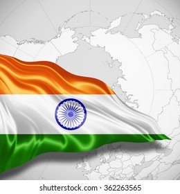 India flag of silk with copyspace for your text or images and world map background
