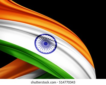 India flag of silk with copyspace for your text or images and black  background -3D illustration