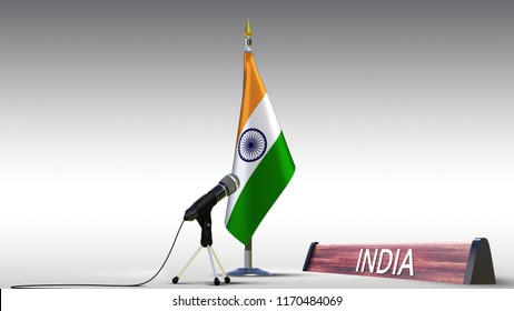 India flag Silk desktop flag on metal rack of Republic of India with microphone and sign with name of the country on white black gradient background real photo Flags G20 countries 3d illustration