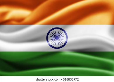 India flag of silk-3D illustration