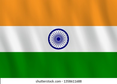 India flag with waving effect, official proportion.