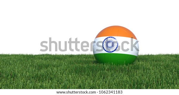 India Indian flag soccer ball lying in grass, isolated on white background. 3D Rendering, Illustration.