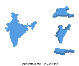 India isometric map illustration, 3D South Asian country isolated on a white background.