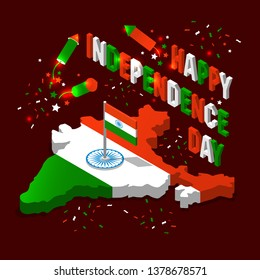 India isometric map in national flag tricolors Abstract background for India Independence Day.