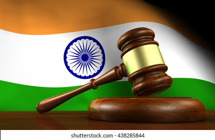 India laws, legal system and justice concept with a 3D rendering of a gavel and the Indian flag on background.