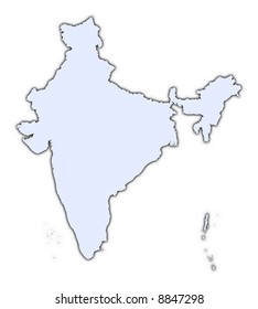 India light blue map with shadow. High resolution. Mercator projection.
