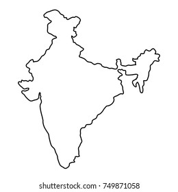India map of black contour curves of illustration. Raster copy.