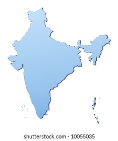 India map filled with light blue gradient. High resolution. Mercator projection.