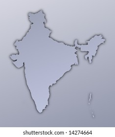 India map filled with metallic gradient. Mercator projection.