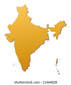 India map filled with orange gradient. Mercator projection.