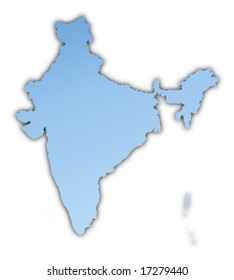 India map light blue map with shadow. High resolution. Mercator projection.