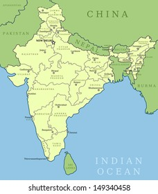 India Map Outline Illustration Country Map Stock Vector (Royalty ...
