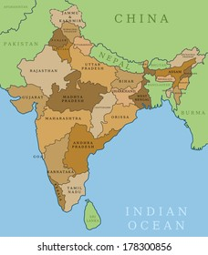 India map. Outline illustration country map with state shapes, names and borders.