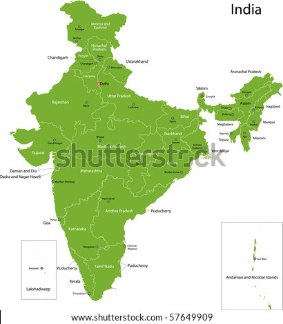 India Map States Capital Cities Stock Illustration 57649909