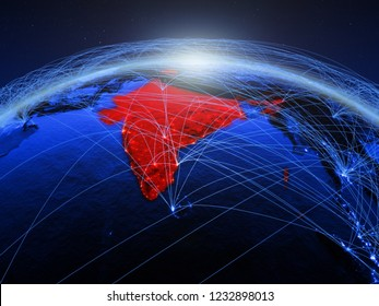 India on blue digital planet Earth with international network representing communication, travel and connections. 3D illustration. Elements of this image furnished by NASA.
