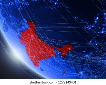 India on blue digital planet Earth from space with network. Concept of international communication, technology and travel. 3D illustration. Elements of this image furnished by NASA.