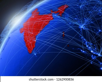 India on model of green planet Earth with international networks. Concept of blue digital communication and technology. 3D illustration. Elements of this image furnished by NASA.