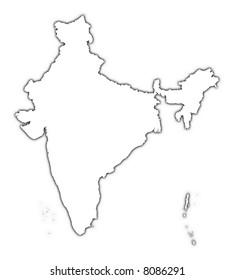 India outline map with shadow. Detailed, Mercator projection.