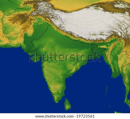 India region map terrain stock illustration 19723561 shutterstock india region map with terrain gumiabroncs Gallery