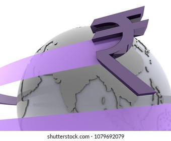 India Rupee around the globe as 3d rendering. A Rupee sign from India flies around the globe representing a surging Indian BRICS economy.