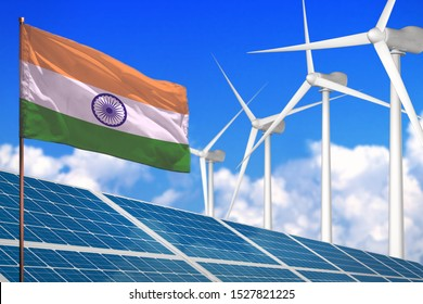 India solar and wind energy, renewable energy concept with windmills - renewable energy against global warming - industrial illustration, 3D illustration