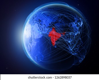 India from space on planet Earth with blue digital network representing international communication, technology and travel. 3D illustration. Elements of this image furnished by NASA.