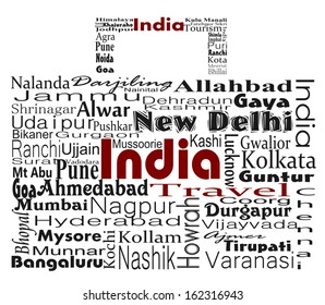 India Travel concept word collage made in suitcase shape made with major Indian cities
