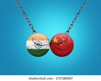 India vs China concept. India and china fight 3d ball visual concept. India and china fight or war on border background. India- China Trade War.
